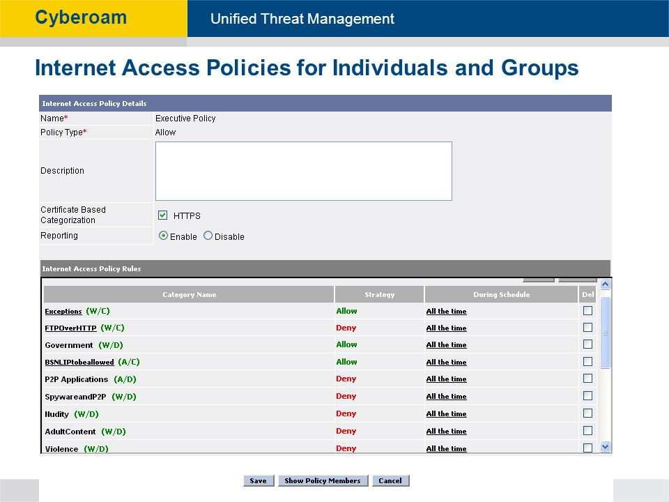 Internet Access Policies for Individuals and Groups