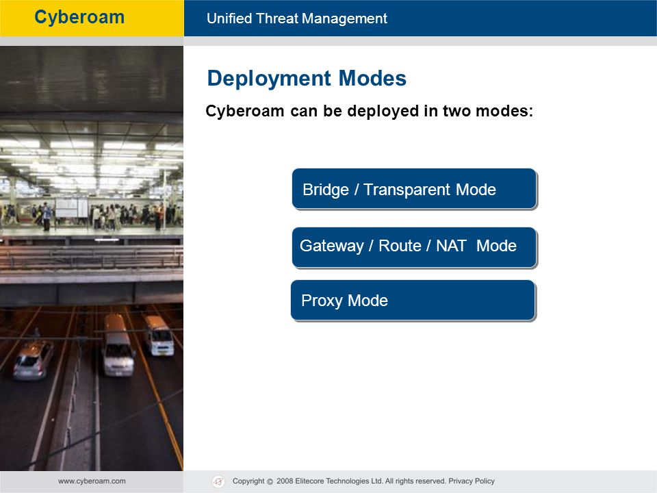 Deployment Modes Cyberoam can be deployed in two modes: