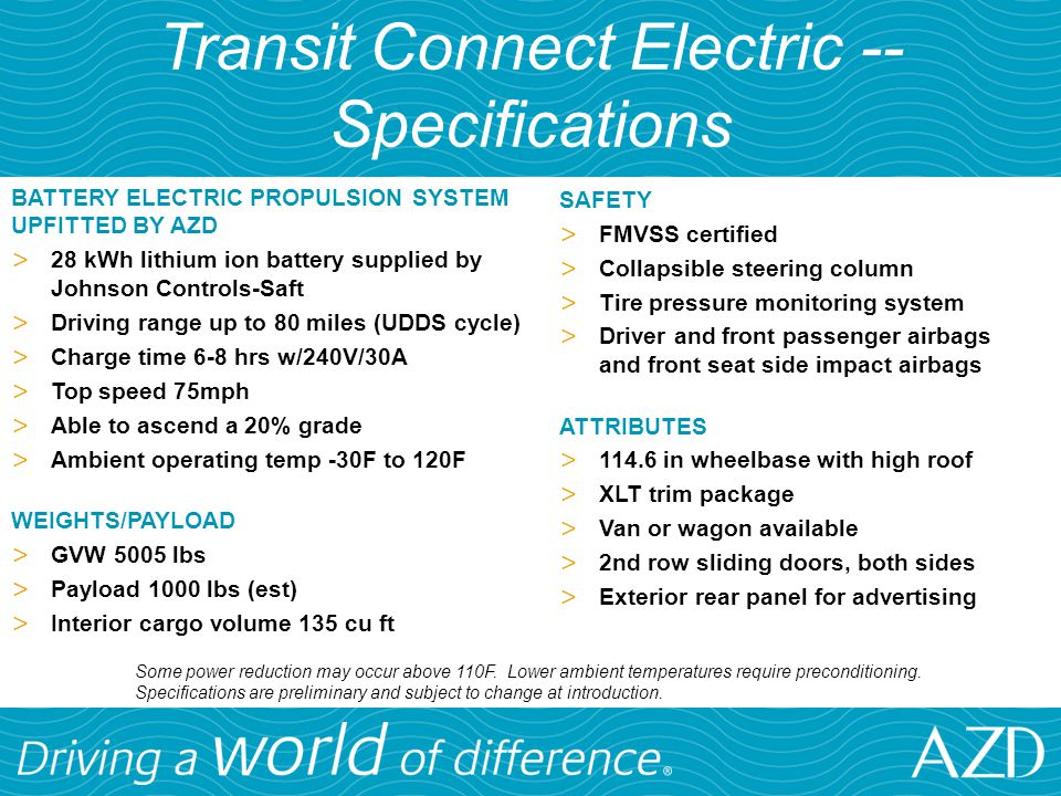 Transit Connect Electric --Specifications
