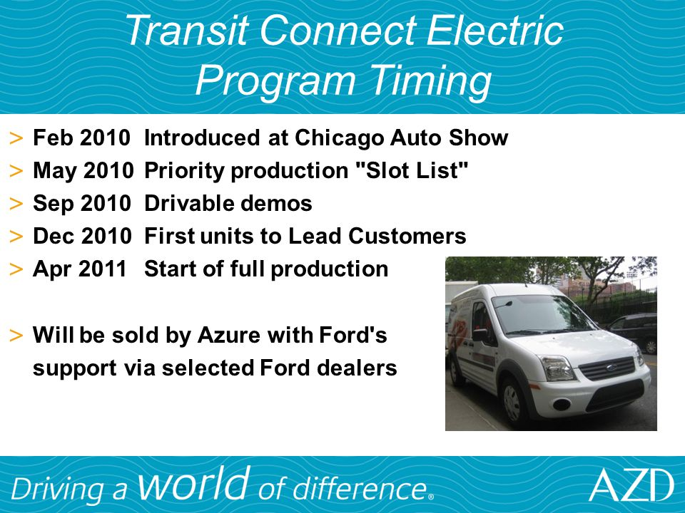 Transit Connect Electric Program Timing