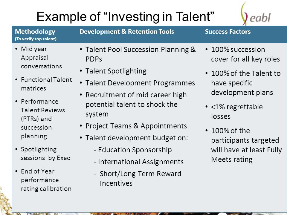Example of Investing in Talent strategy