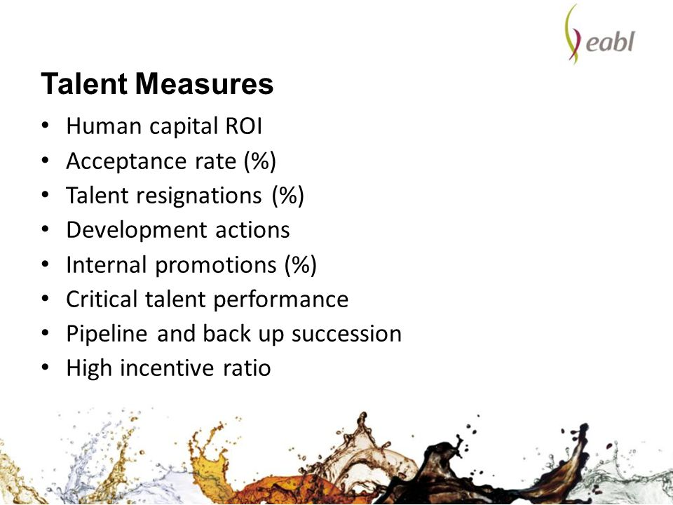 Talent Measures Human capital ROI Acceptance rate (%)