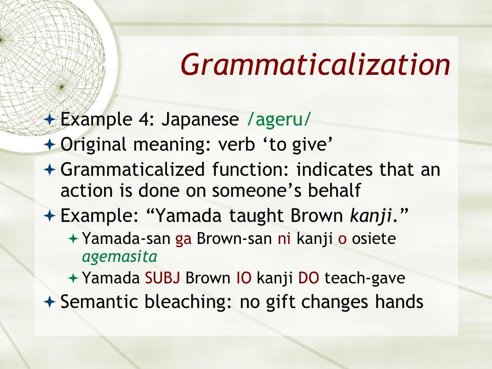 Grammaticalization Example 4: Japanese /ageru/