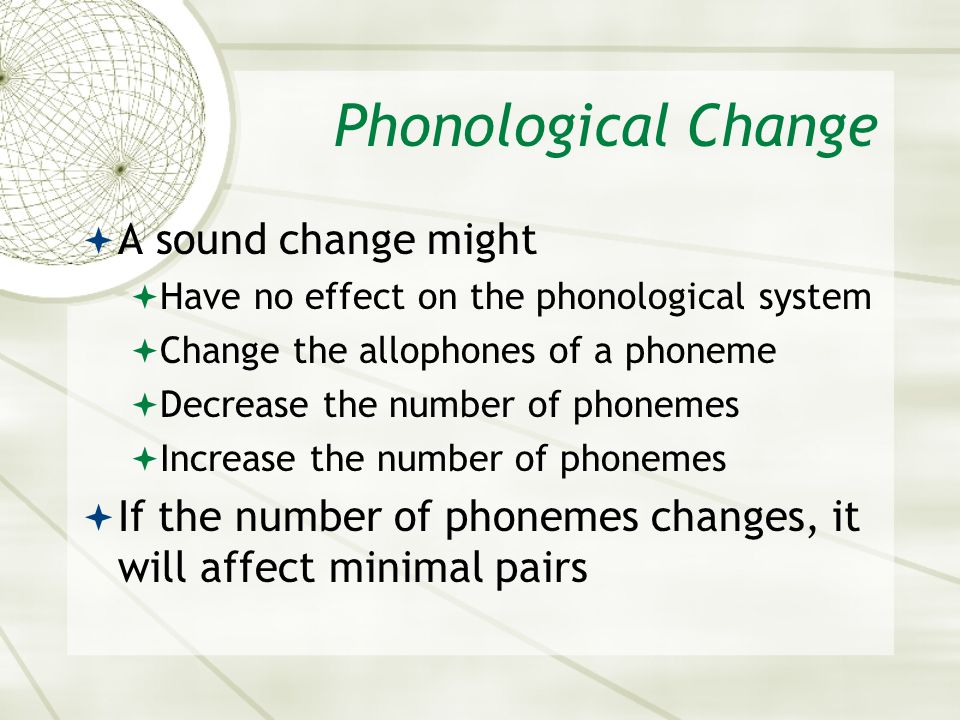 Phonological Change A sound change might