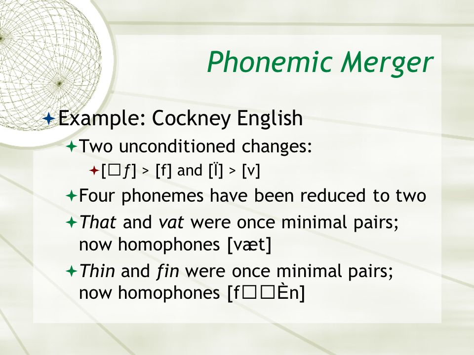 Phonemic Merger Example: Cockney English Two unconditioned changes: