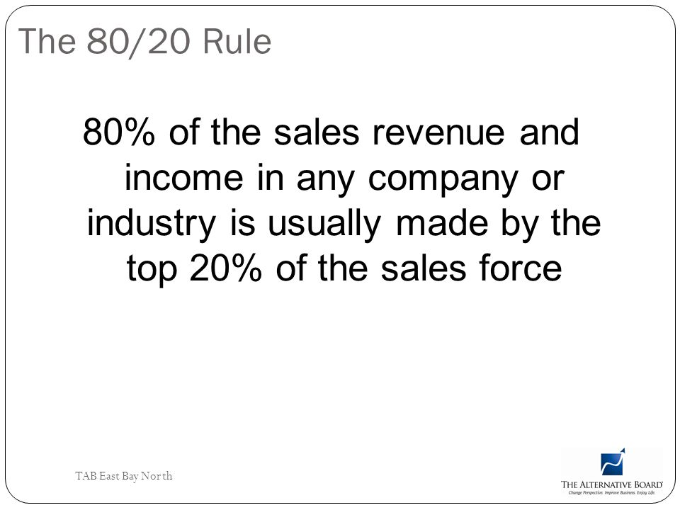 The 80/20 Rule 80% of the sales revenue and income in any company or industry is usually made by the top 20% of the sales force.