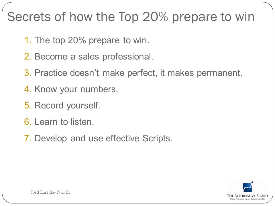 Secrets of how the Top 20% prepare to win