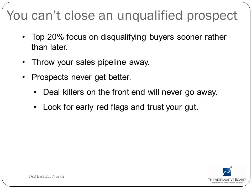 You can't close an unqualified prospect