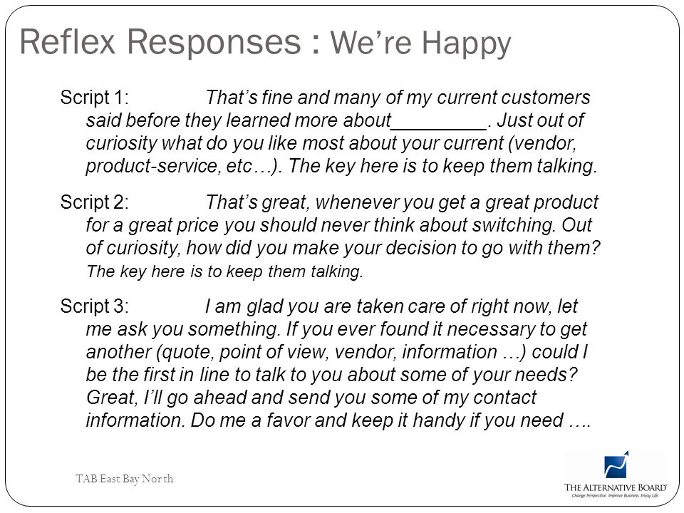Reflex Responses : We're Happy