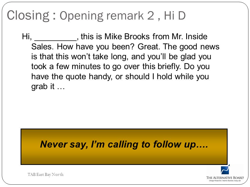 Closing : Opening remark 2 , Hi D