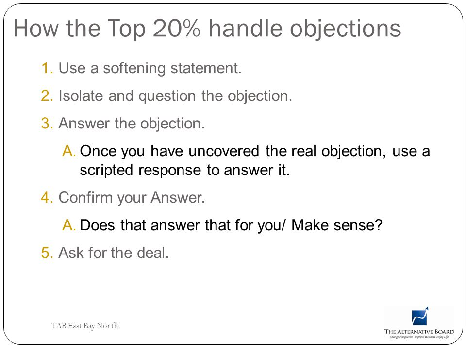 How the Top 20% handle objections