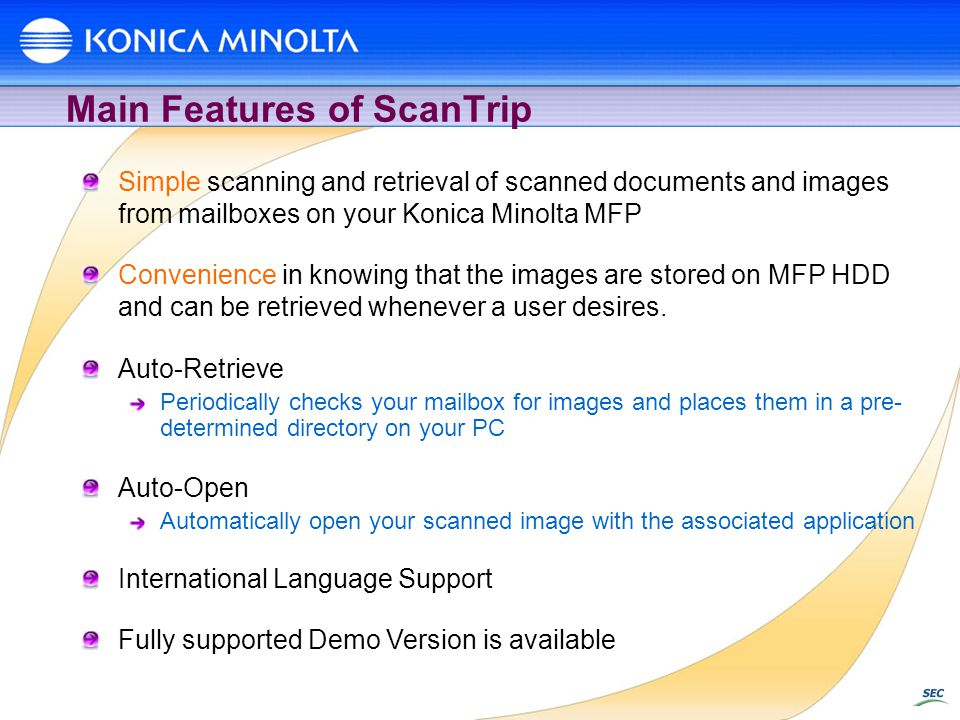Main Features of ScanTrip