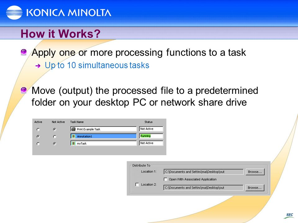 How it Works Apply one or more processing functions to a task