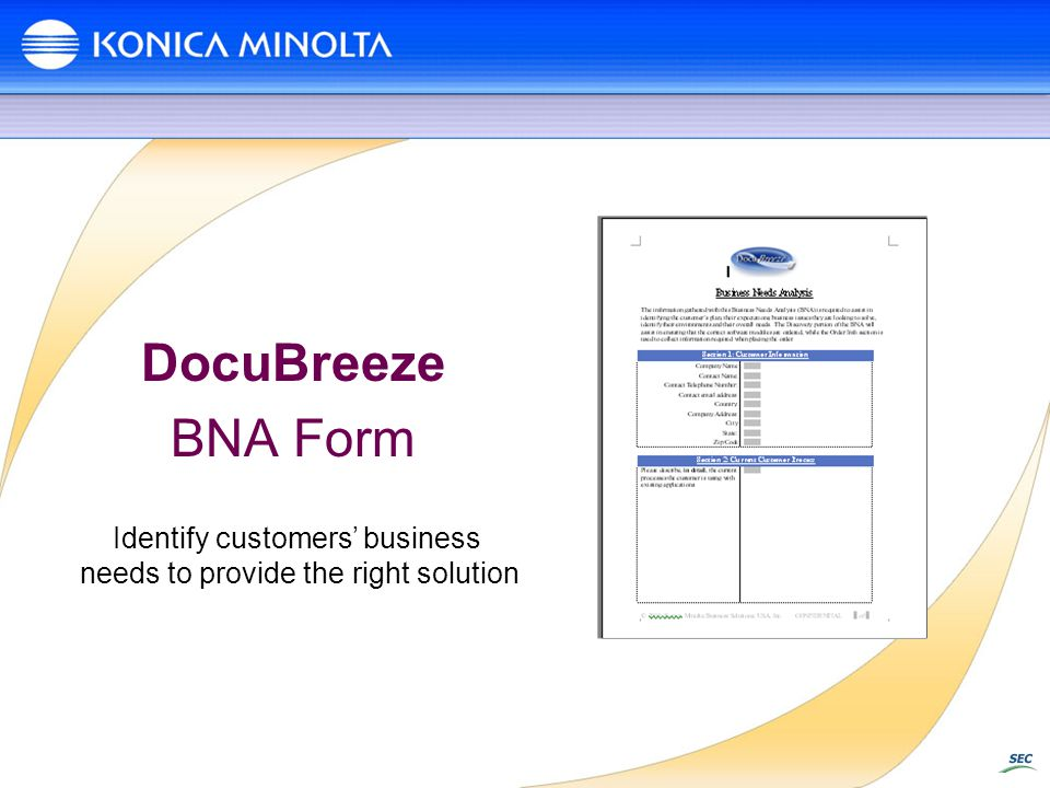 DocuBreeze BNA Form Identify customers' business