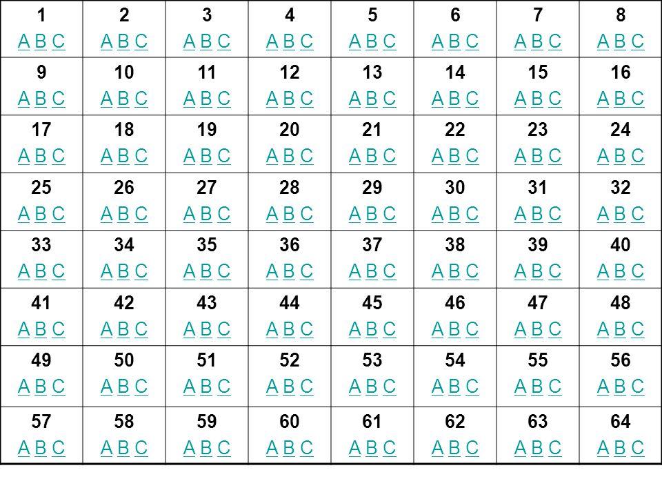 1 A B C. 2. 3. 4. 5. 6. 7. 8. 9. 10. 11. 12. 13. 14. 15. 16. 17. 18. 19. 20. 21.