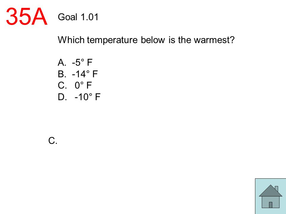 35A Goal 1.01 Which temperature below is the warmest -5° F -14° F