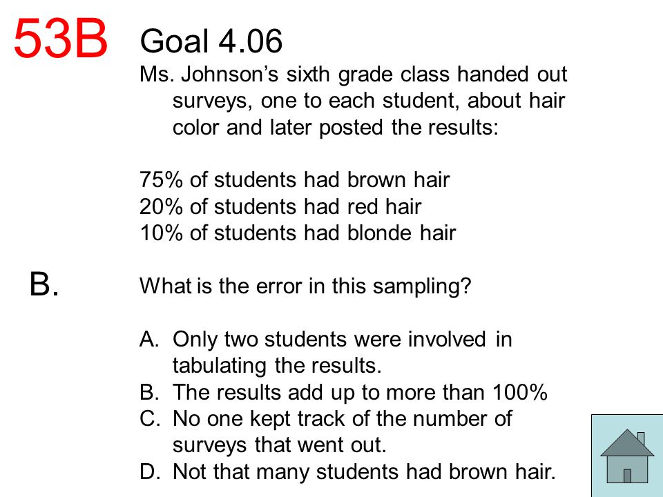 53B Goal 4.06. Ms. Johnson's sixth grade class handed out surveys, one to each student, about hair color and later posted the results: