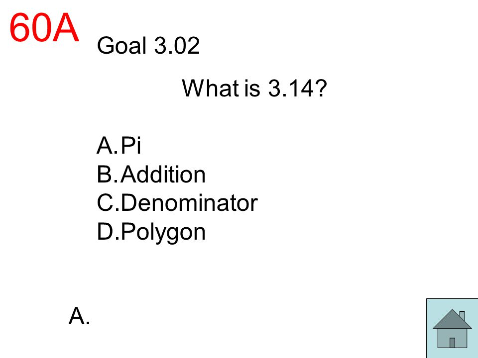 60A Goal 3.02 What is 3.14 Pi Addition Denominator Polygon A.