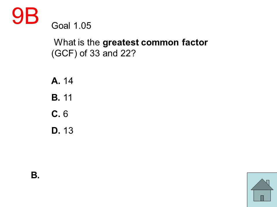 9B Goal 1.05 What is the greatest common factor (GCF) of 33 and 22