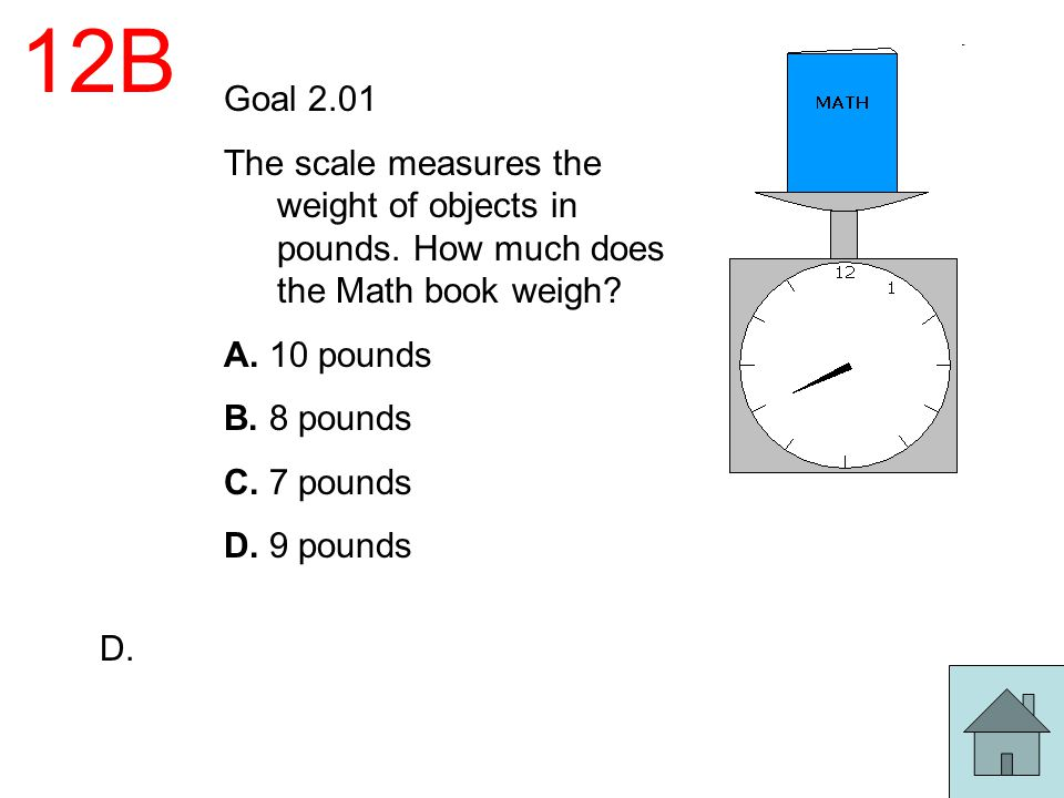 12B Goal 2.01. The scale measures the weight of objects in pounds. How much does the Math book weigh