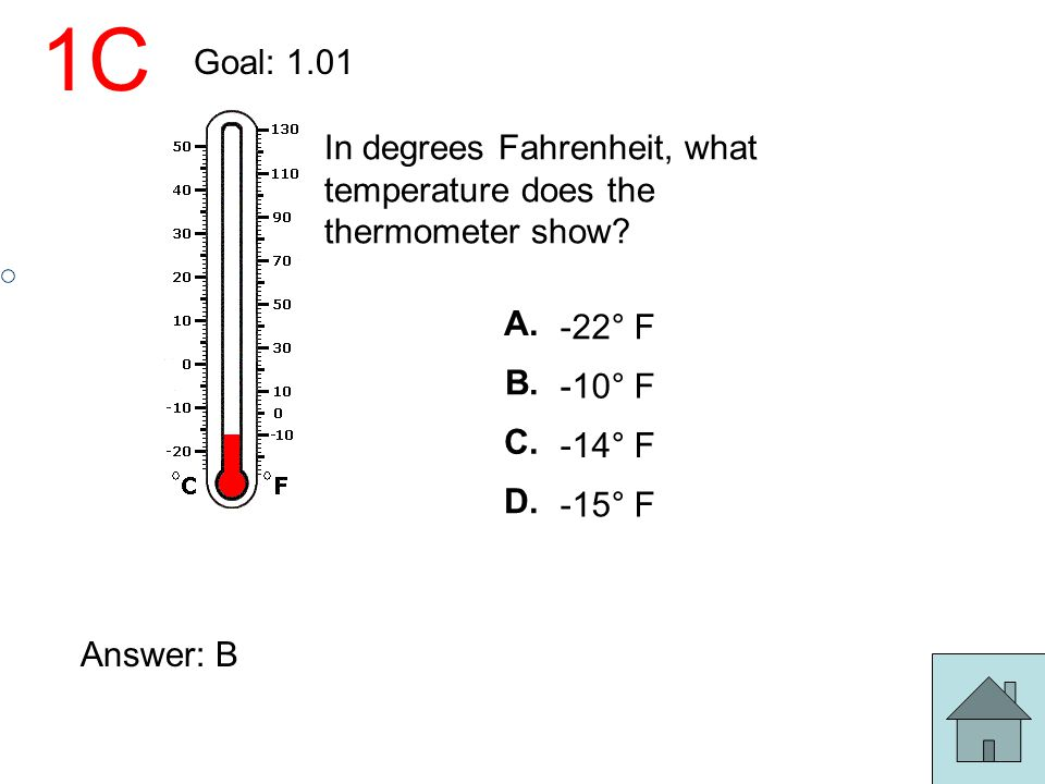 1C Goal: 1.01. In degrees Fahrenheit, what temperature does the thermometer show A. -22° F. B.
