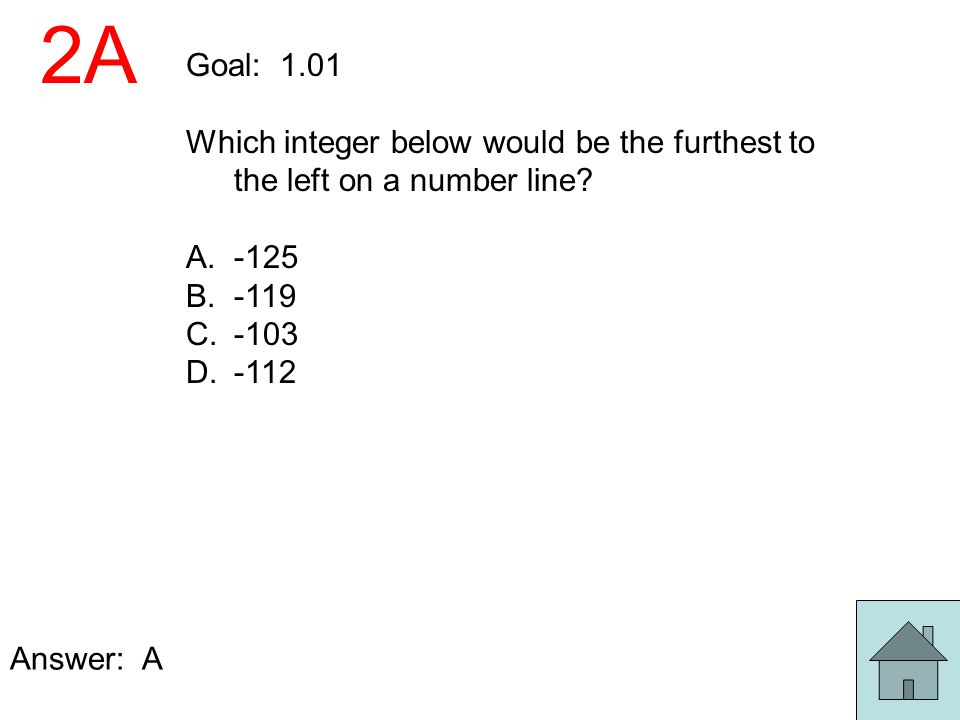 2A Goal: 1.01. Which integer below would be the furthest to the left on a number line -125. -119.