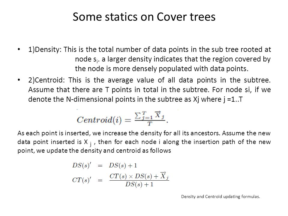 Some statics on Cover trees