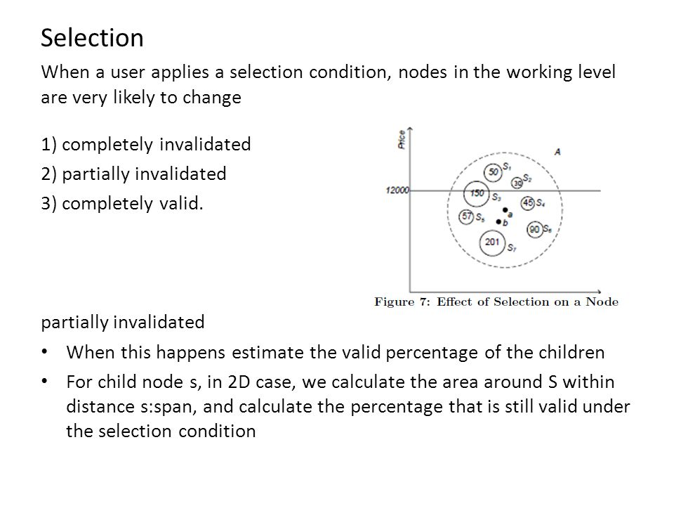 Selection When a user applies a selection condition, nodes in the working level are very likely to change.