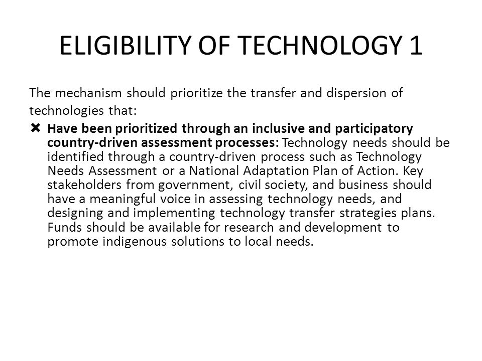 ELIGIBILITY OF TECHNOLOGY 1