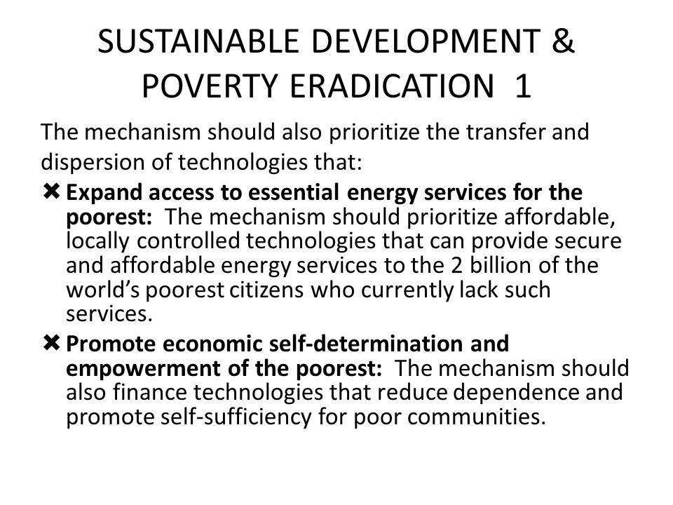 SUSTAINABLE DEVELOPMENT & POVERTY ERADICATION 1