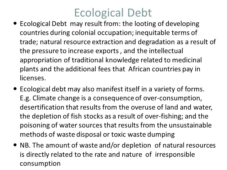 Ecological Debt