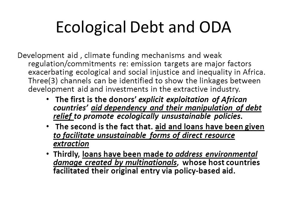 Ecological Debt and ODA