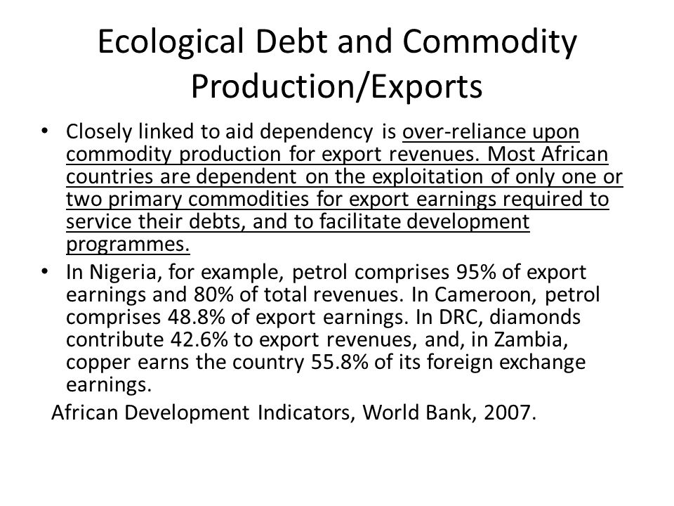 Ecological Debt and Commodity Production/Exports