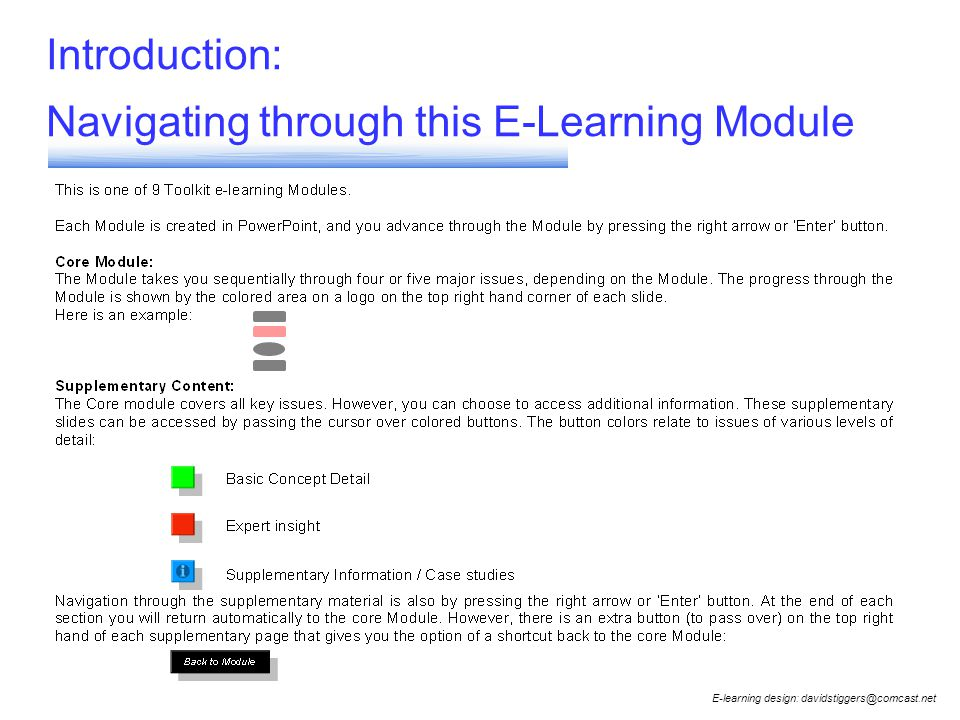 Introduction: Navigating through this E-Learning Module