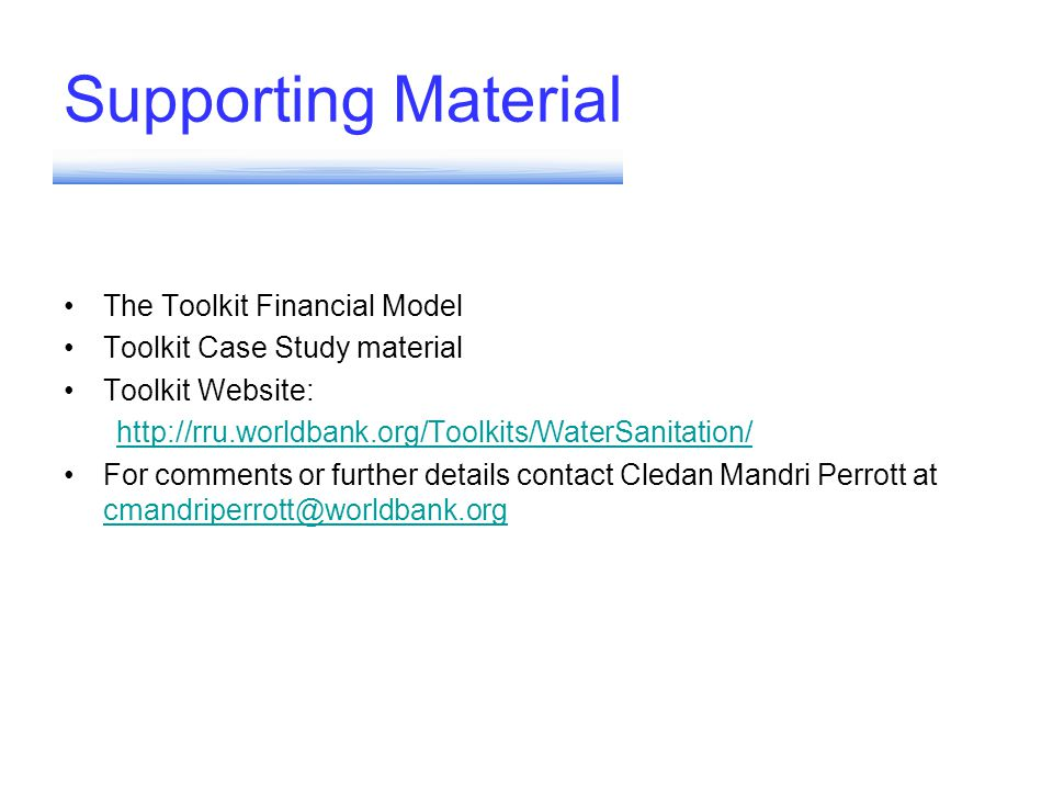 Supporting Material The Toolkit Financial Model