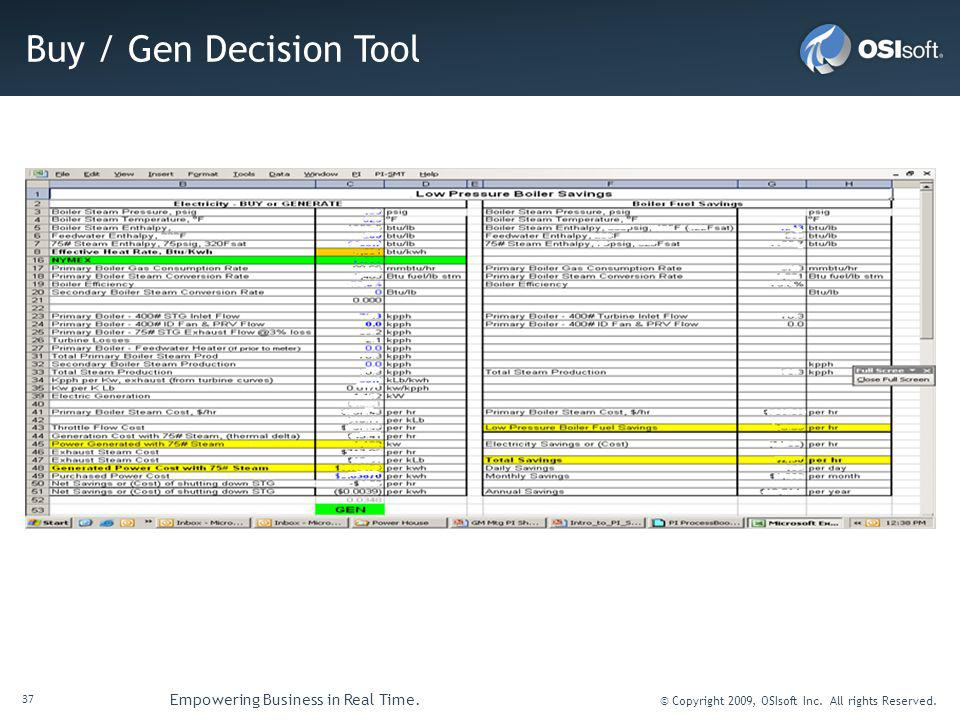 Buy / Gen Decision Tool
