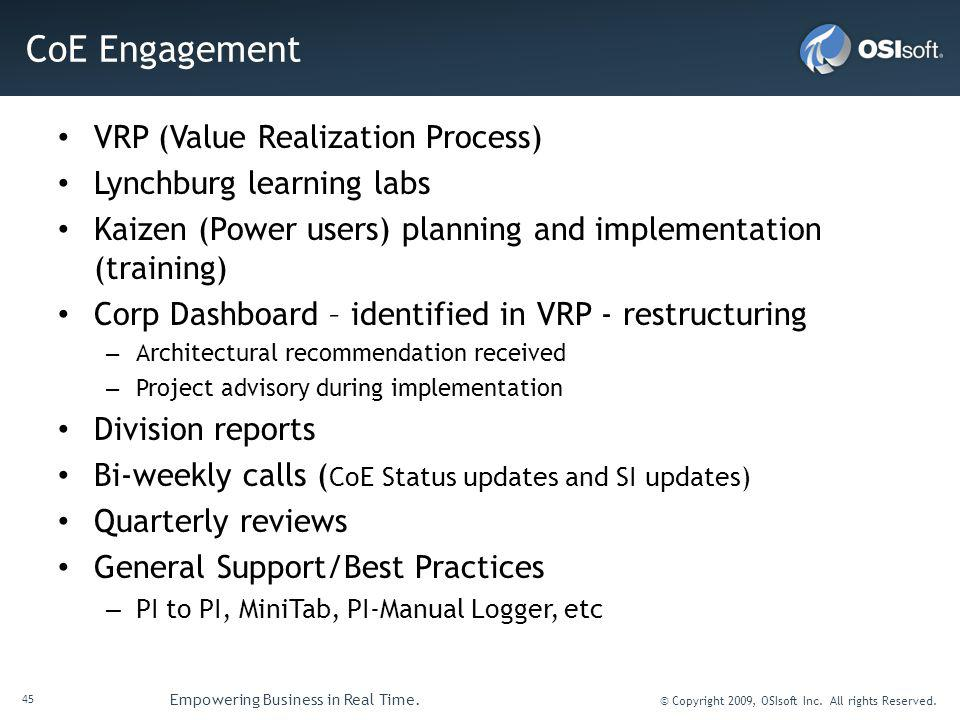 CoE Engagement VRP (Value Realization Process) Lynchburg learning labs