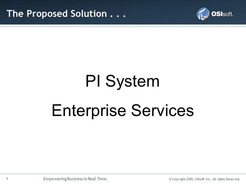 The Proposed Solution . . . PI System Enterprise Services