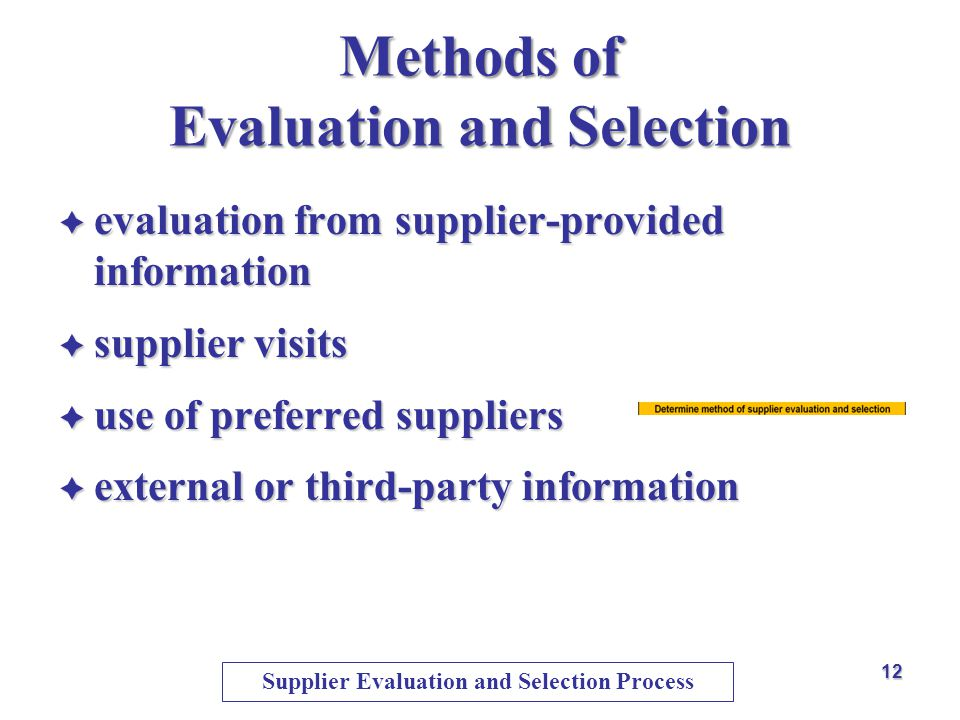 Methods of Evaluation and Selection
