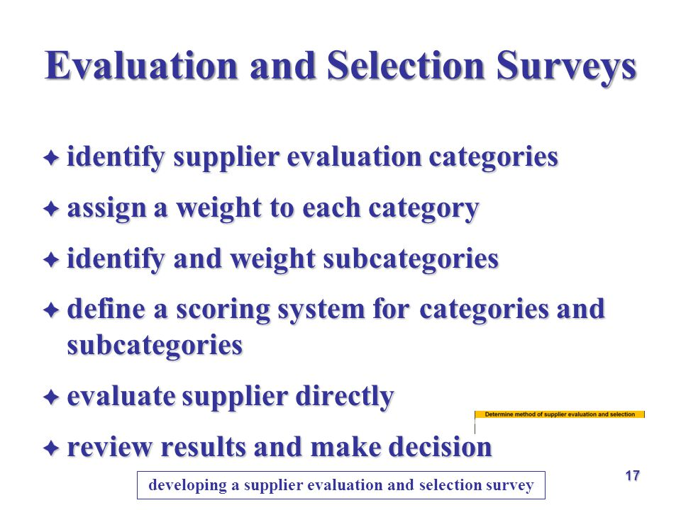 Evaluation and Selection Surveys