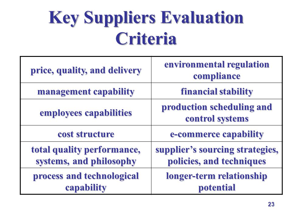 relationship building skills selection criteria for suppliers