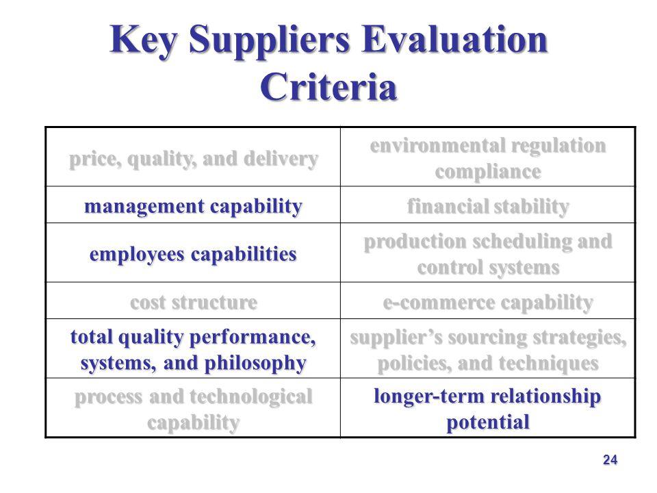 Key Suppliers Evaluation Criteria