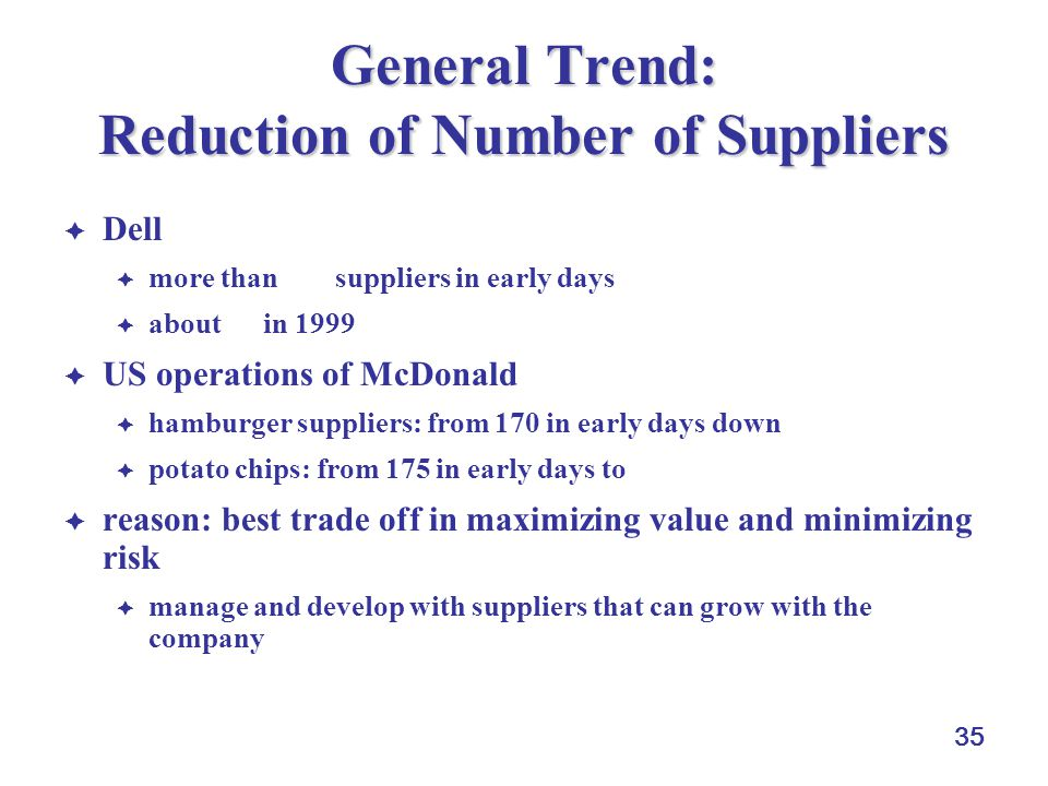 General Trend: Reduction of Number of Suppliers