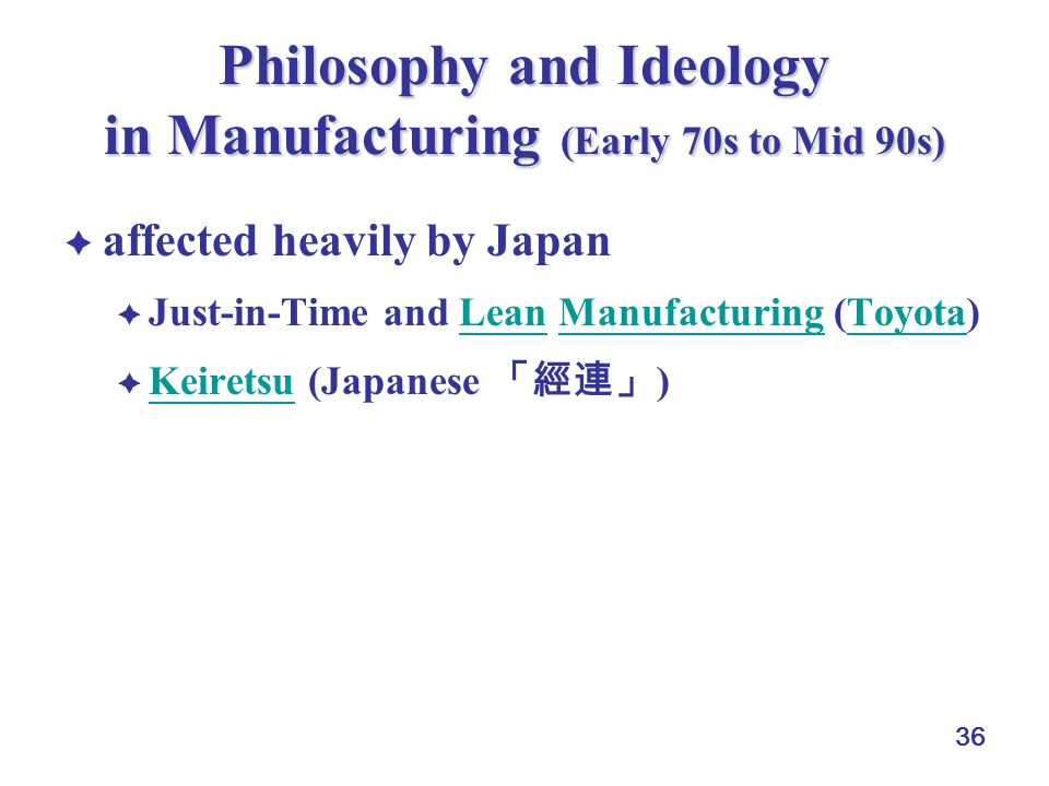 Philosophy and Ideology in Manufacturing (Early 70s to Mid 90s)