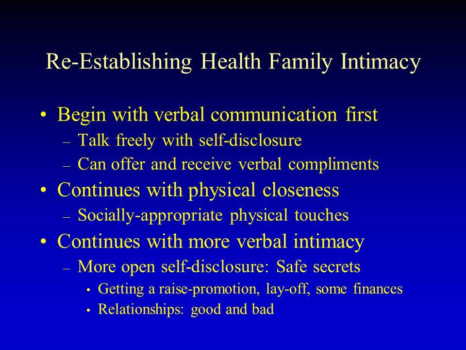 Re-Establishing Health Family Intimacy