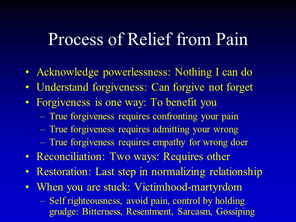 Process of Relief from Pain