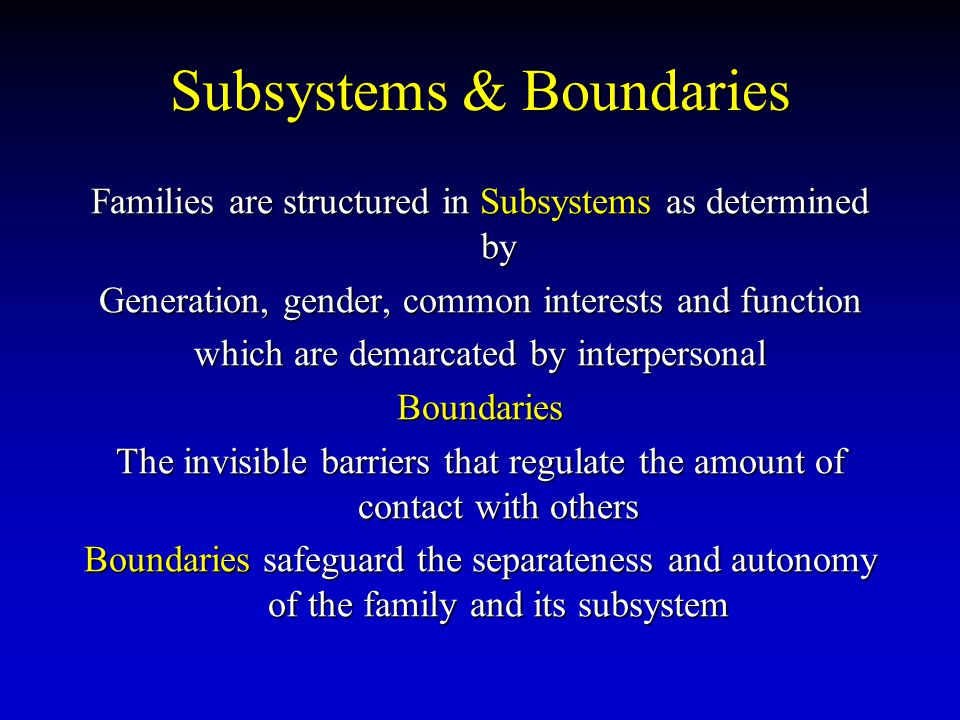 Subsystems & Boundaries