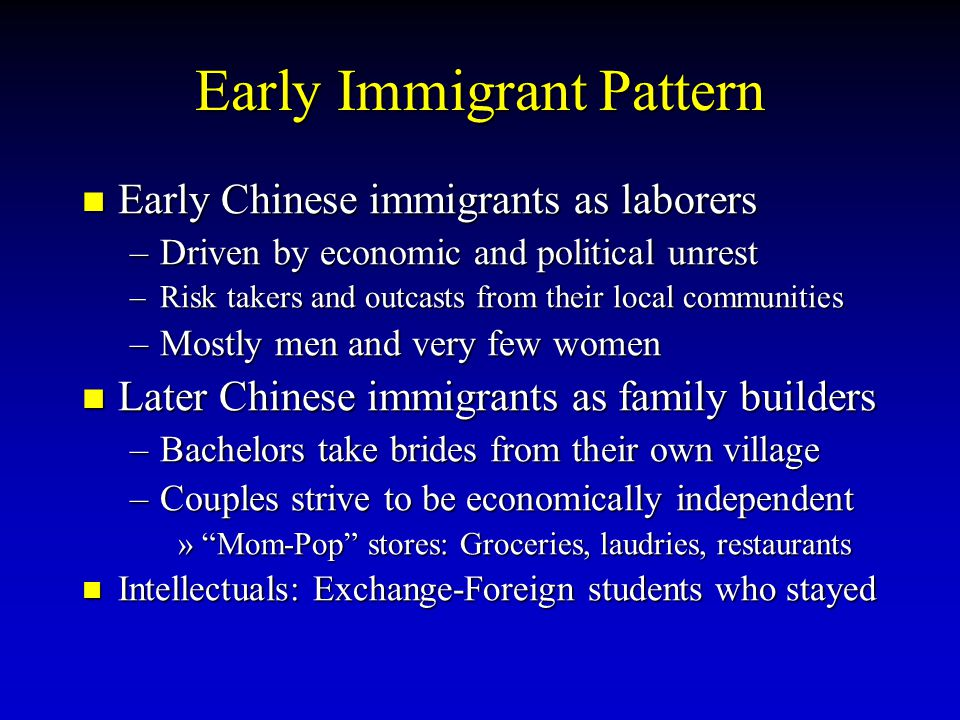 Early Immigrant Pattern