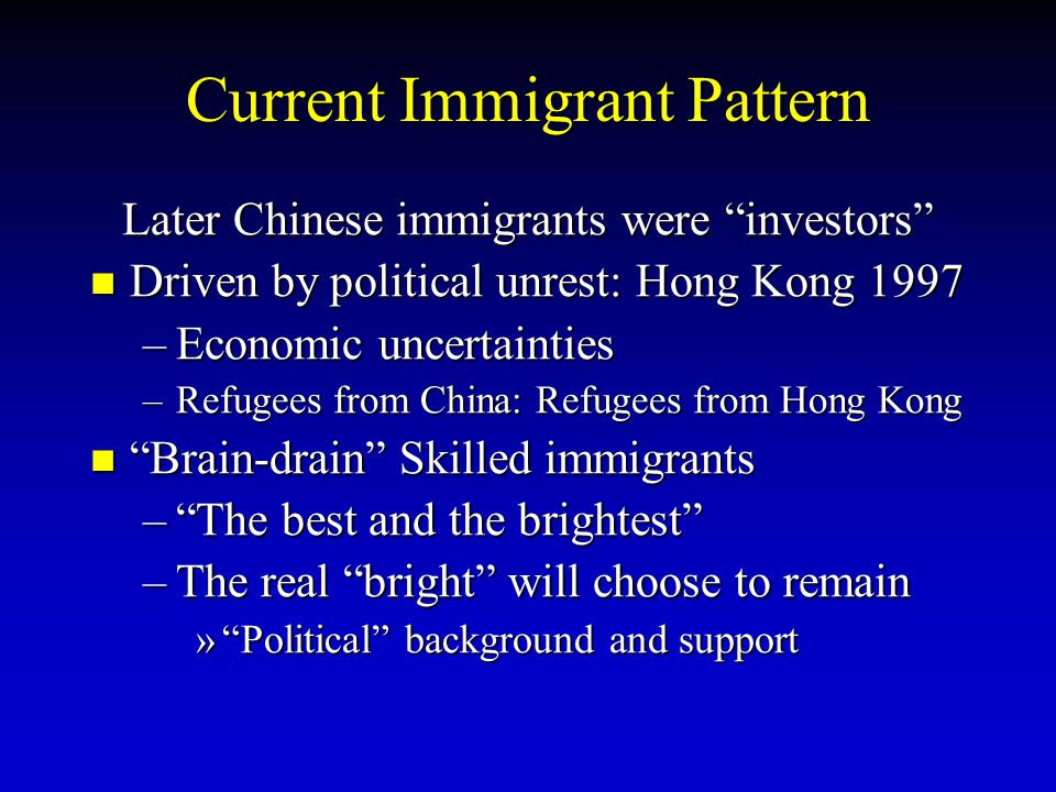 Current Immigrant Pattern