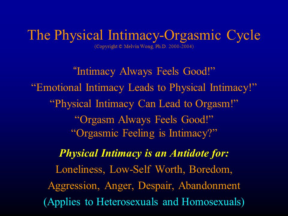 Physical Intimacy is an Antidote for: